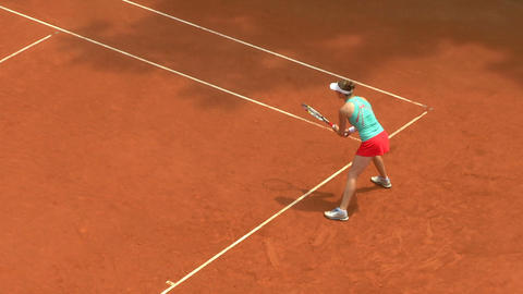 tennis girl green red game 01 Stock Video Footage
