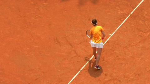 tennis girl orange serve forehand 01 Footage