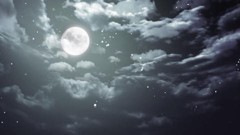 Halloween moon and dark sky wide Animation