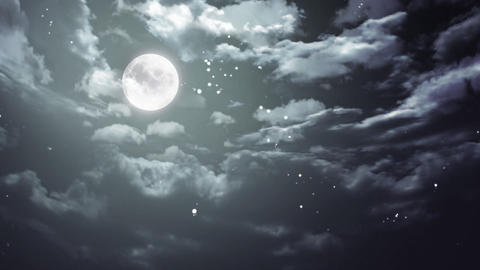 Halloween moon and dark sky wide Stock Video Footage