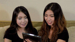 Tablet 18Two Asian Friends Video Chatting With A F Stock Video Footage
