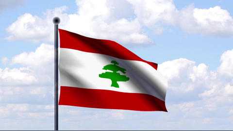 Animated Flag of Lebanon / Libanon Stock Video Footage