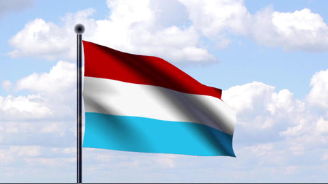 Animated Flag of Luxembourg / Luxemburg Stock Video Footage