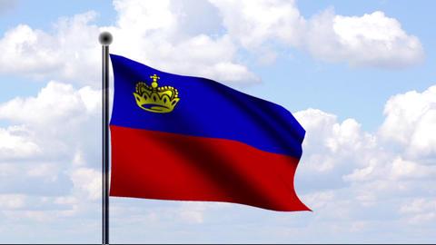 Animated Flag of Liechtenstein Stock Video Footage