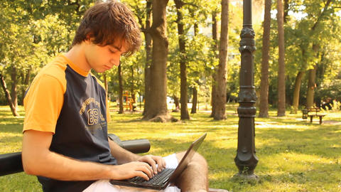 man typing on a laptop Stock Video Footage