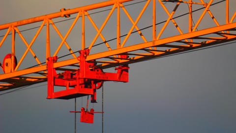 Extreme close-up of tower crane hoisting mechanism Stock Video Footage