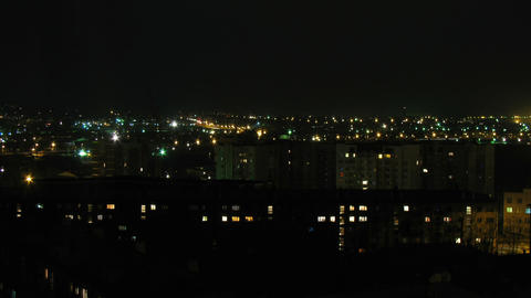 Time lapse of the night town in Russian province Footage