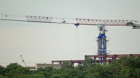 Construction site with working tower crane Footage