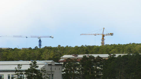 Timelapse of two working tower cranes Stock Video Footage
