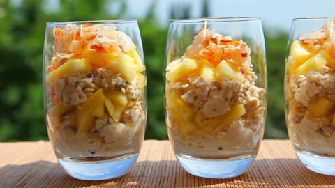 Breakfast, pineapple muesli yogurt coconut Stock Video Footage