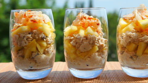 Breakfast, pineapple muesli yogurt coconut Footage