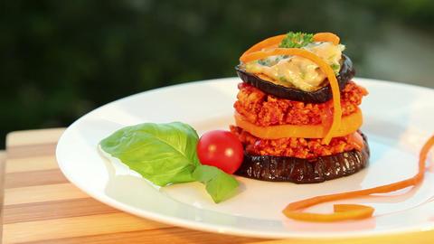 Moussaka - tofu cheese, eggplant, tomato Footage