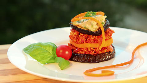Moussaka - tofu cheese, eggplant, tomato Stock Video Footage