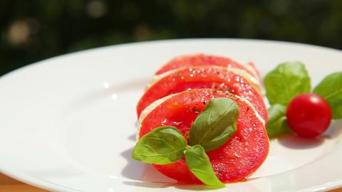 Tomato mozzarella basil olive - dolly shot Stock Video Footage