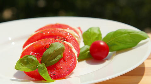 Tomato mozzarella basil olive - dolly shot Footage