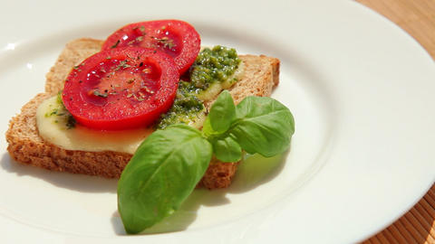 Delicious Sandwich With Pesto Mozzarella Tomato stock footage