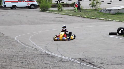 Go-kart racing in russian town. Warm up lap with s Stock Video Footage