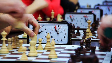 Close-up of chess game tournament with clock. Time Footage