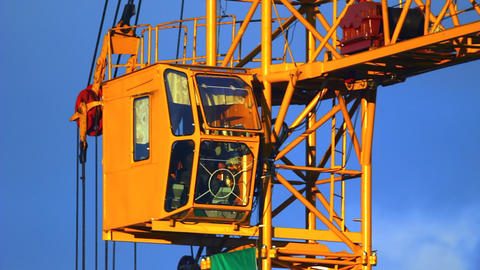 Extreme close-up of working tower crane cabin at s Footage
