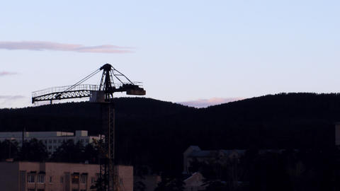 Time lapse with tower crane at the construction si Stock Video Footage