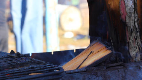 Closeup of burning wood in the barbecue Footage