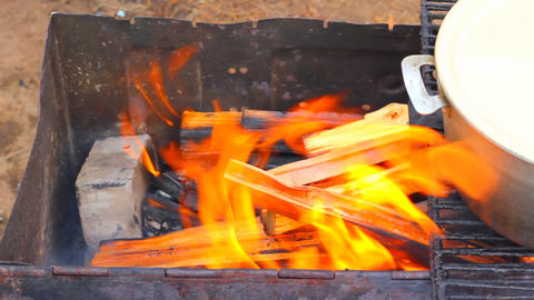 Closeup of burning wood in the barbecue Stock Video Footage