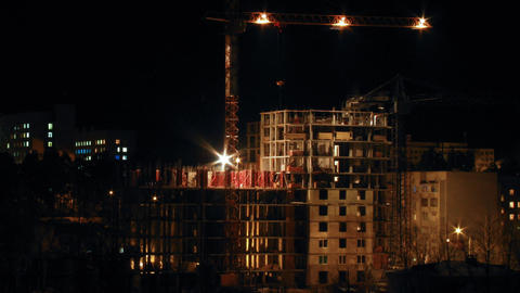 Timelapse construction site in the night Stock Video Footage