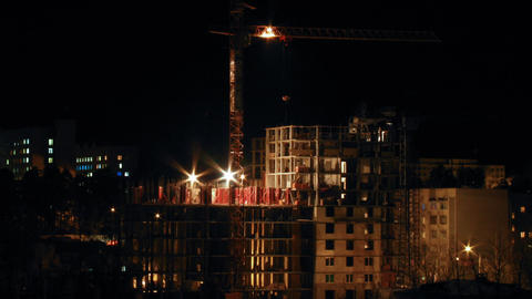Timelapse Construction Site In The Night stock footage