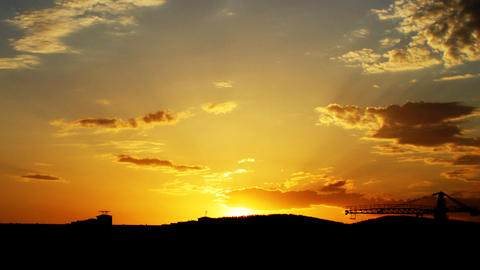 Beautiful orange sunrise in the town with tower cr Stock Video Footage