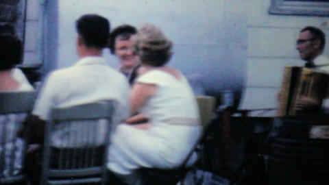 Accordion Player Takes A Rest 1962 Vintage 8mm Stock Video Footage