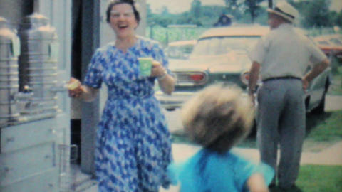 Kids Having Fun At Family Summer Picnic 1962 8mm Stock Video Footage