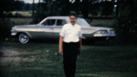 Man Walking Away From Classic Old Car 1962 Vintage Footage