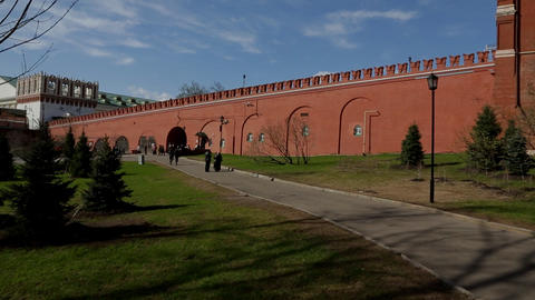 Moscow Kremlin Wall Panorama stock footage