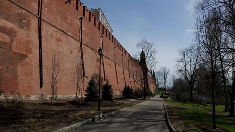 Moscow kremlin wall panorama Footage