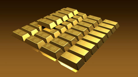 Growing Gold Bricks Pyramid Stock Video Footage