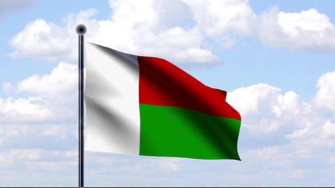 Animated Flag of Madagascar / Madagaskar Stock Video Footage
