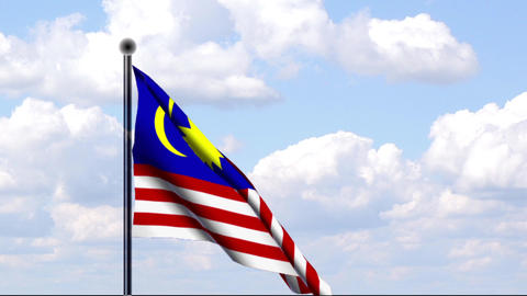 Animated Flag of Malaysia Stock Video Footage