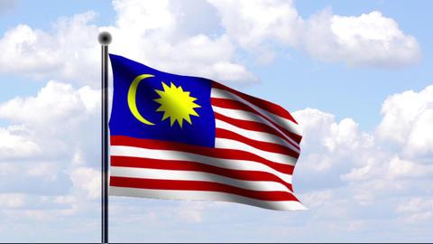 Animated Flag of Malaysia Stock Video Footage