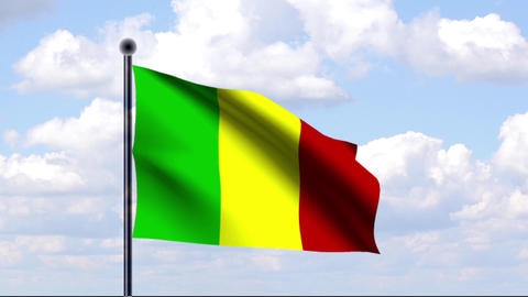 Animated Flag of Mali / Animierte Flagge von Mali Stock Video Footage