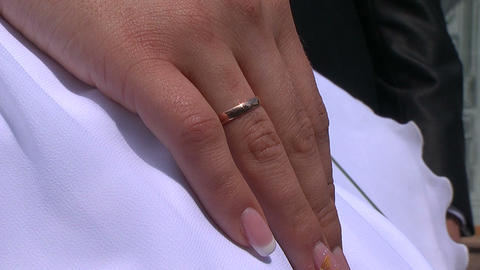 Hand of the bride with a ring Footage