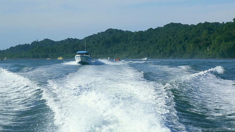 Trace of a speedboat Stock Video Footage