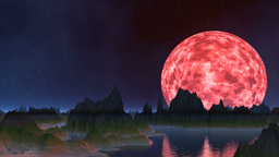 The pink moon is reflected in water Animation