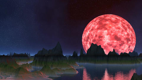 The pink moon is reflected in water Stock Video Footage