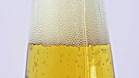 Beer Bubbles In Bottle Neck stock footage