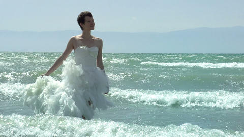 Bride and waves Stock Video Footage