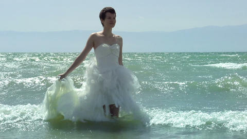 Bride and waves Footage