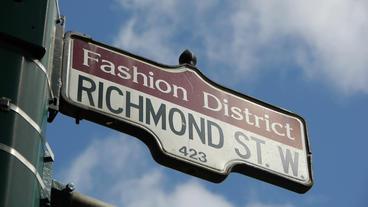 Fashion District Street Sign CU Footage