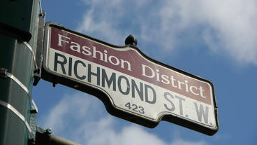 Fashion District Street Sign CU Stock Video Footage