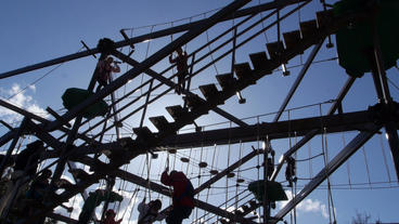 Families play on large gorilla climb ropes course Footage