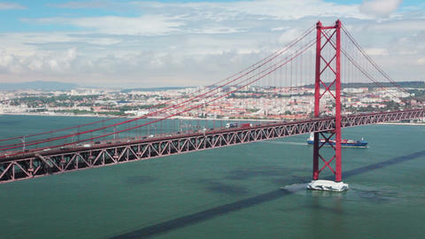 Lisbon. 25th of April Bridge Stock Video Footage